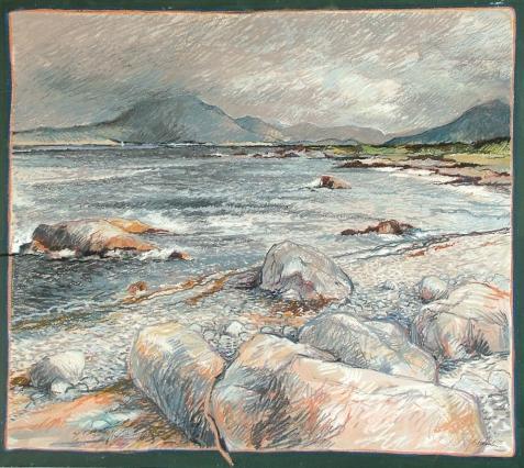Renvyle Connemara. Oil pastel on board. 600mm x 600mm