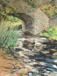 "Slane Bridge, River Boyne. Oil on board. 30"" x 20""."