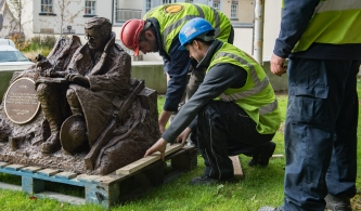 Ledwidge Statue installation October 2017. Francis Ledwidge 1887-1917. Bronze sculpture. 1000mm x 1200mm x 1200mm. Slane Village Space.