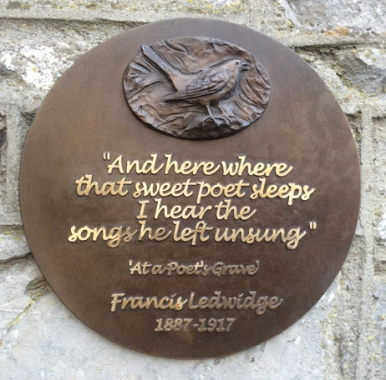 Francis Ledwidge Centenary Wall Plaque. Bronze. Slane Village.