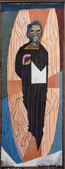 Christ the King. Collaboration Patrick Pye/Liam Ó Broin. Woven tapestry, cotton warp and weft. 150cm x 50cm. (Collection: Clonliffe College, Dublin).